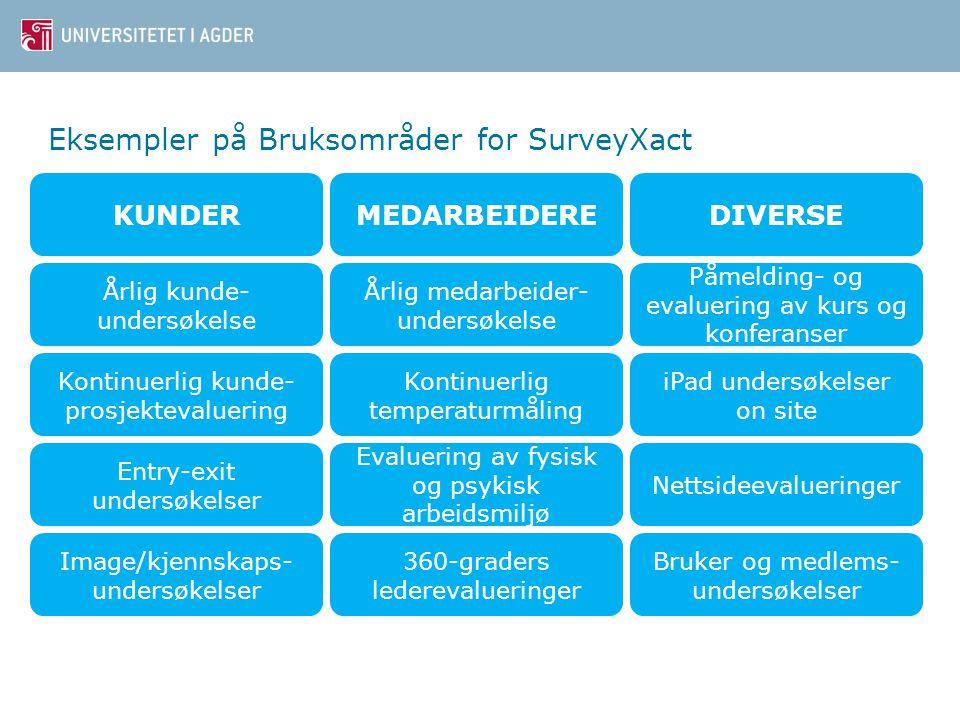 Eksempler på Bruksområder for SurveyXact KUNDERMEDARBEIDEREDIVERSE Årlig kunde- undersøkelse Årlig medarbeider- undersøkelse Påmelding- og evaluering