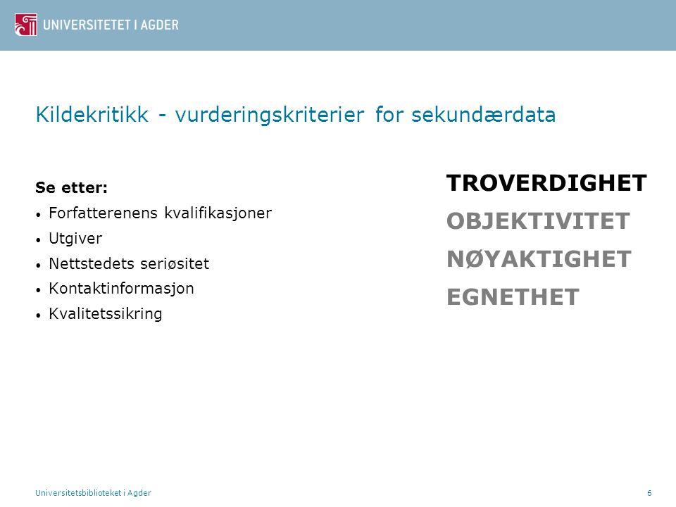 Universitetsbiblioteket i Agder27 Litteraturliste – eksempler Websider Forfatter/redaktør, Initial.