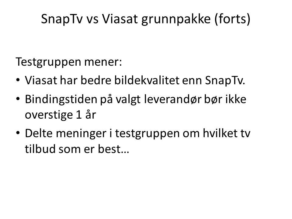 SnapTv vs Viasat grunnpakke (forts) Testgruppen mener: Viasat har bedre bildekvalitet enn SnapTv. Bindingstiden på valgt leverandør bør ikke overstige