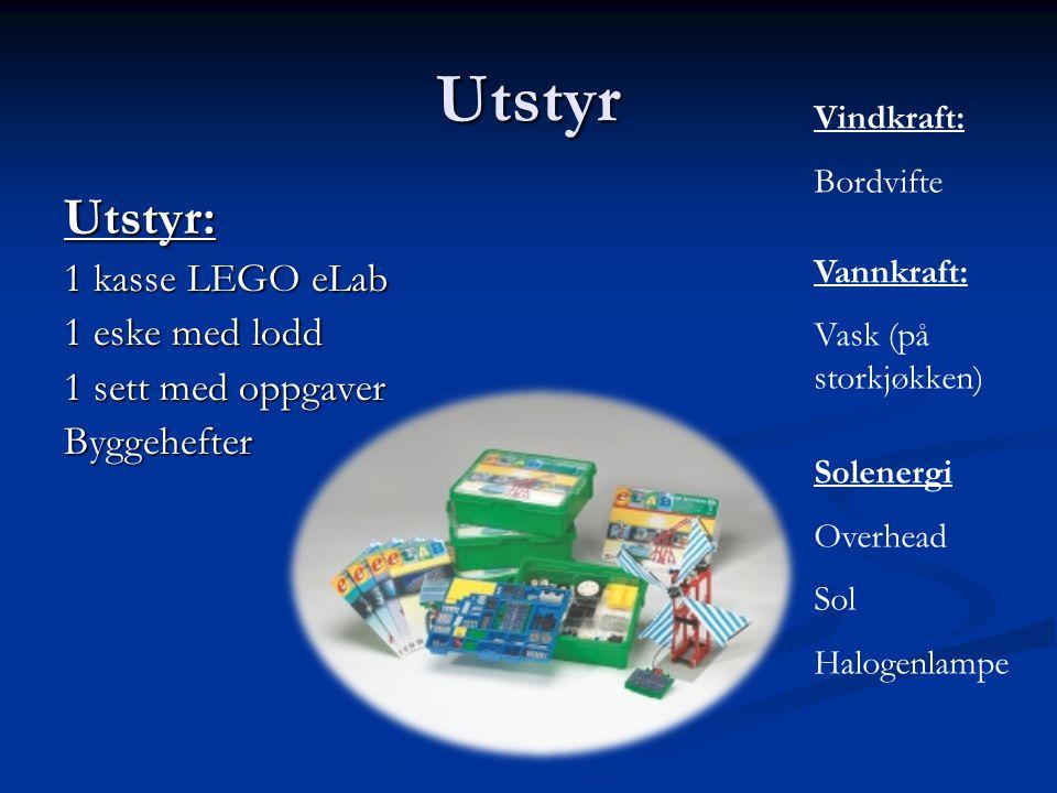Utstyr Utstyr: 1 kasse LEGO eLab 1 eske med lodd 1 sett med oppgaver Byggehefter Vindkraft: Bordvifte Vannkraft: Vask (på storkjøkken) Solenergi Overh