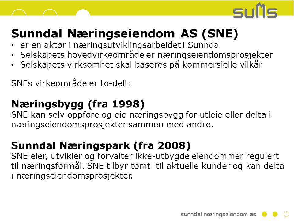 Sunndal Næringseiendom AS (SNE) er en aktør i næringsutviklingsarbeidet i Sunndal Selskapets hovedvirkeområde er næringseiendomsprosjekter Selskapets virksomhet skal baseres på kommersielle vilkår SNEs virkeområde er to-delt: Næringsbygg (fra 1998) SNE kan selv oppføre og eie næringsbygg for utleie eller delta i næringseiendomsprosjekter sammen med andre.
