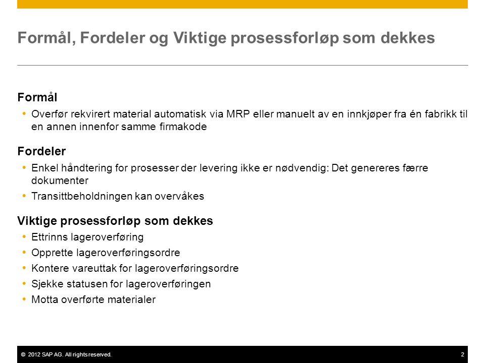 ©2012 SAP AG. All rights reserved.2 Formål, Fordeler og Viktige prosessforløp som dekkes Formål  Overfør rekvirert material automatisk via MRP eller