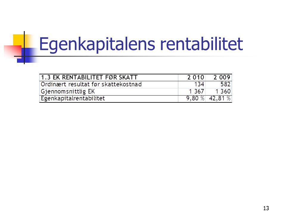 Egenkapitalens rentabilitet 13