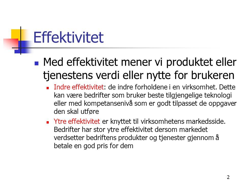 Effektivitet Med effektivitet mener vi produktet eller tjenestens verdi eller nytte for brukeren Indre effektivitet: de indre forholdene i en virksomh