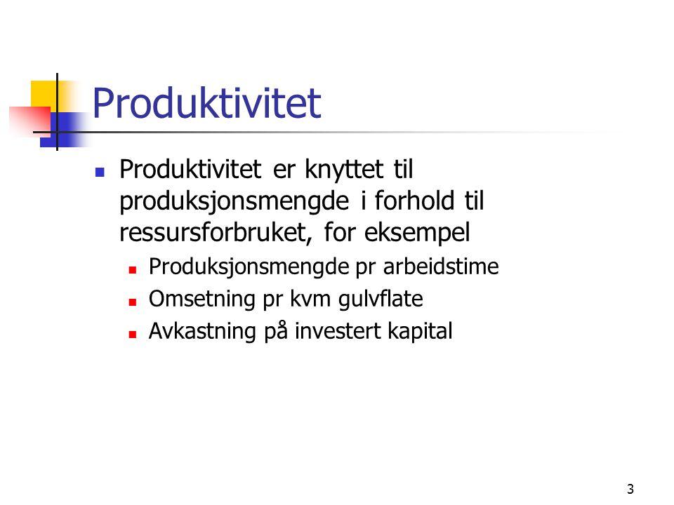 Produktivitet Produktivitet er knyttet til produksjonsmengde i forhold til ressursforbruket, for eksempel Produksjonsmengde pr arbeidstime Omsetning p