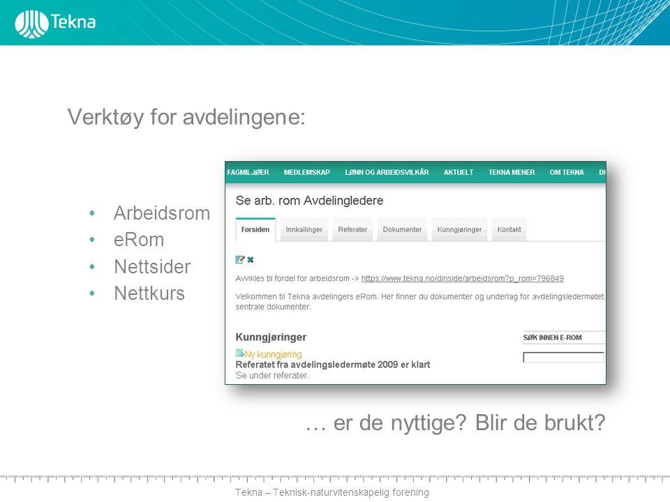 Tekna – Teknisk-naturvitenskapelig forening Verktøy for avdelingene: Arbeidsrom eRom Nettsider Nettkurs … er de nyttige.