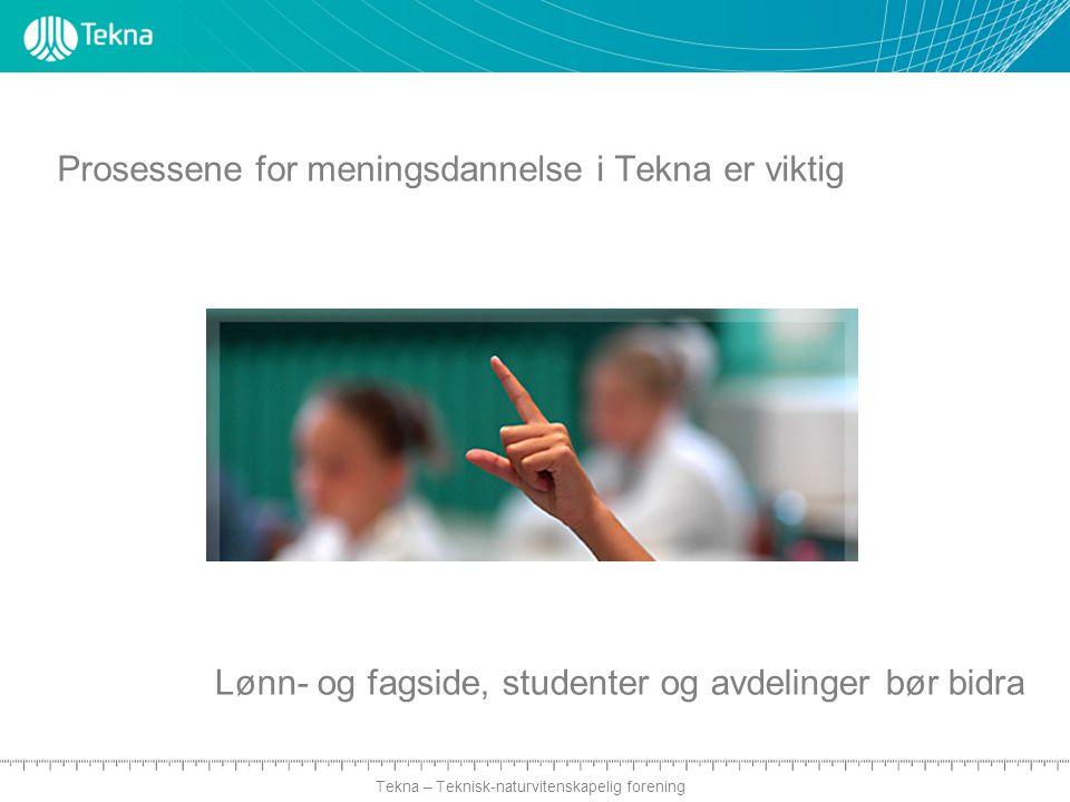 Tekna – Teknisk-naturvitenskapelig forening Prosessene for meningsdannelse i Tekna er viktig Lønn- og fagside, studenter og avdelinger bør bidra