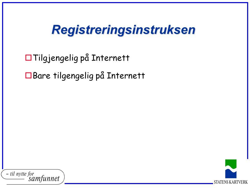 Registreringsinstruksen oTilgjengelig på Internett oBare tilgengelig på Internett