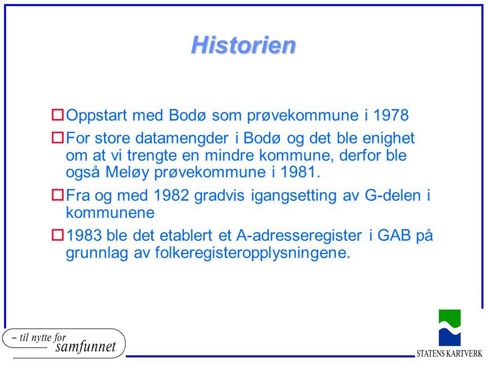 Historien oOppstart med Bodø som prøvekommune i 1978 oFor store datamengder i Bodø og det ble enighet om at vi trengte en mindre kommune, derfor ble også Meløy prøvekommune i 1981.