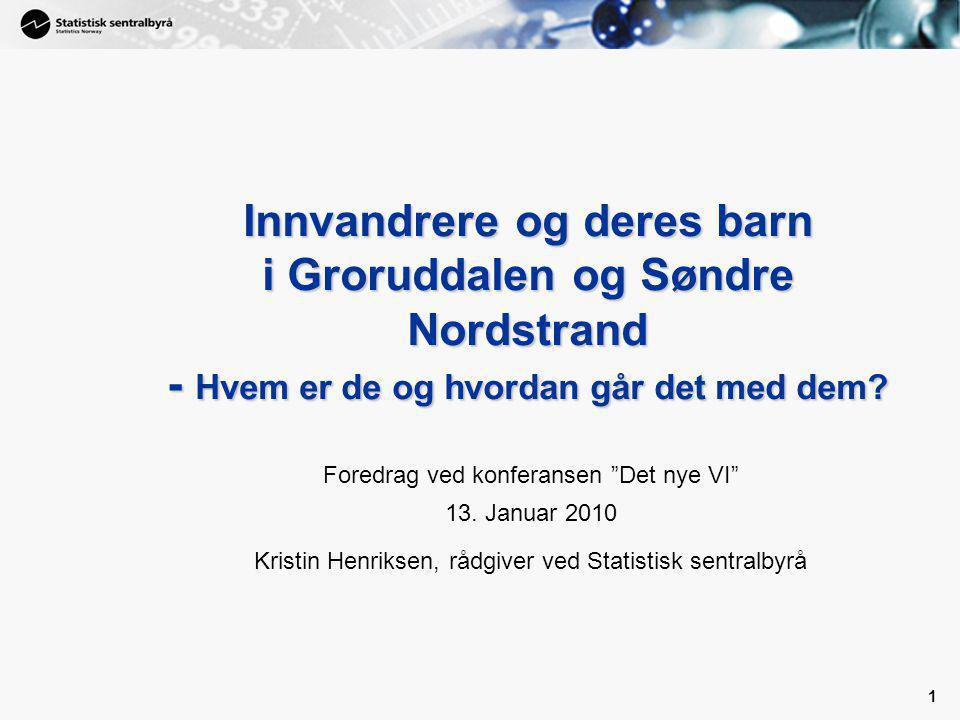 1 1 Innvandrere og deres barn i Groruddalen og Søndre Nordstrand - Hvem er de og hvordan går det med dem.