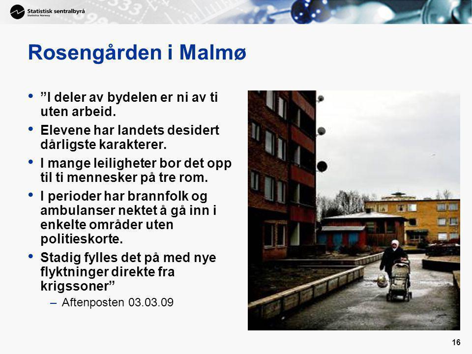 16 Rosengården i Malmø I deler av bydelen er ni av ti uten arbeid.