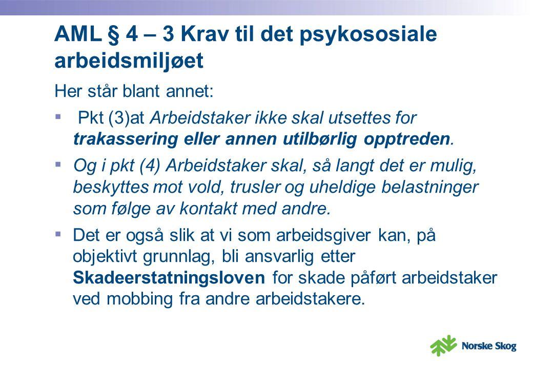 AML § 4 – 3 Krav til det psykososiale arbeidsmiljøet Her står blant annet: ▪ Pkt (3)at Arbeidstaker ikke skal utsettes for trakassering eller annen ut