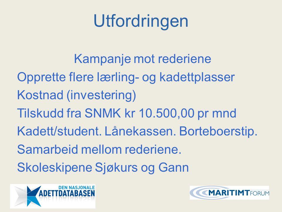 Utfordringen Kampanje mot rederiene Opprette flere lærling- og kadettplasser Kostnad (investering) Tilskudd fra SNMK kr 10.500,00 pr mnd Kadett/studen