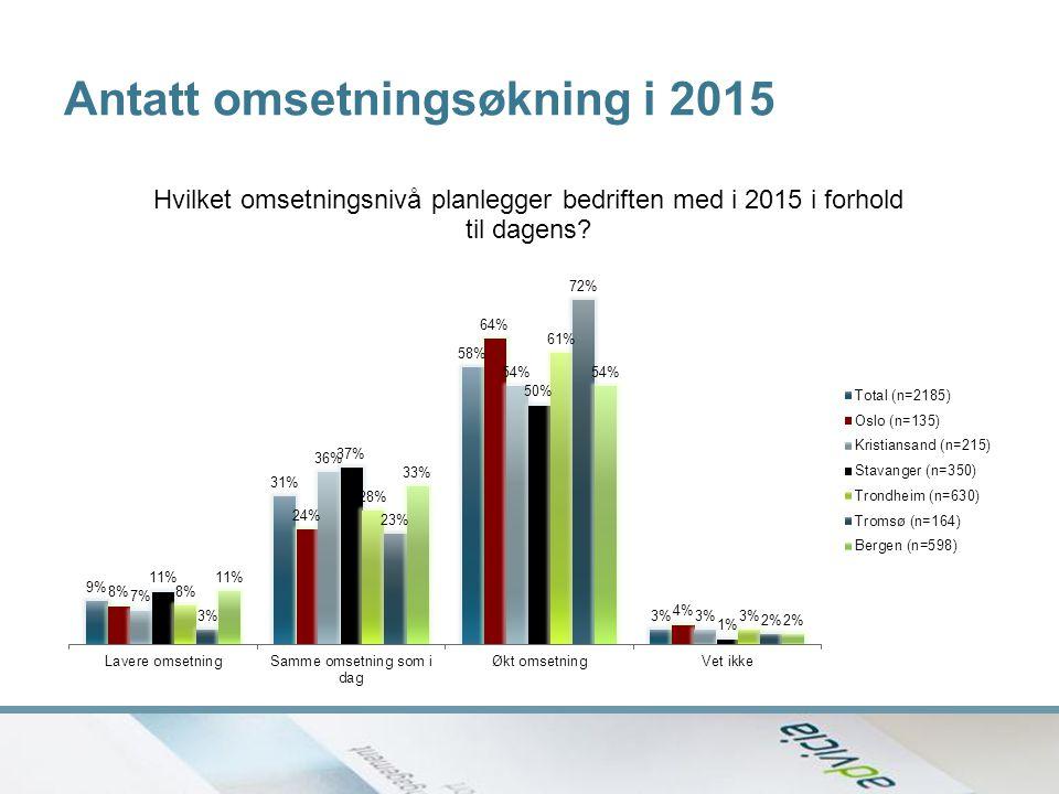 Antatt omsetningsøkning i 2015