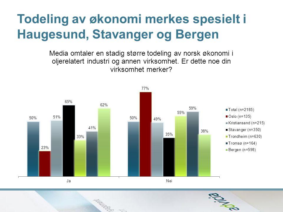 Todeling av økonomi merkes spesielt i Haugesund, Stavanger og Bergen