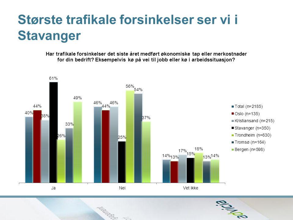 Største trafikale forsinkelser ser vi i Stavanger