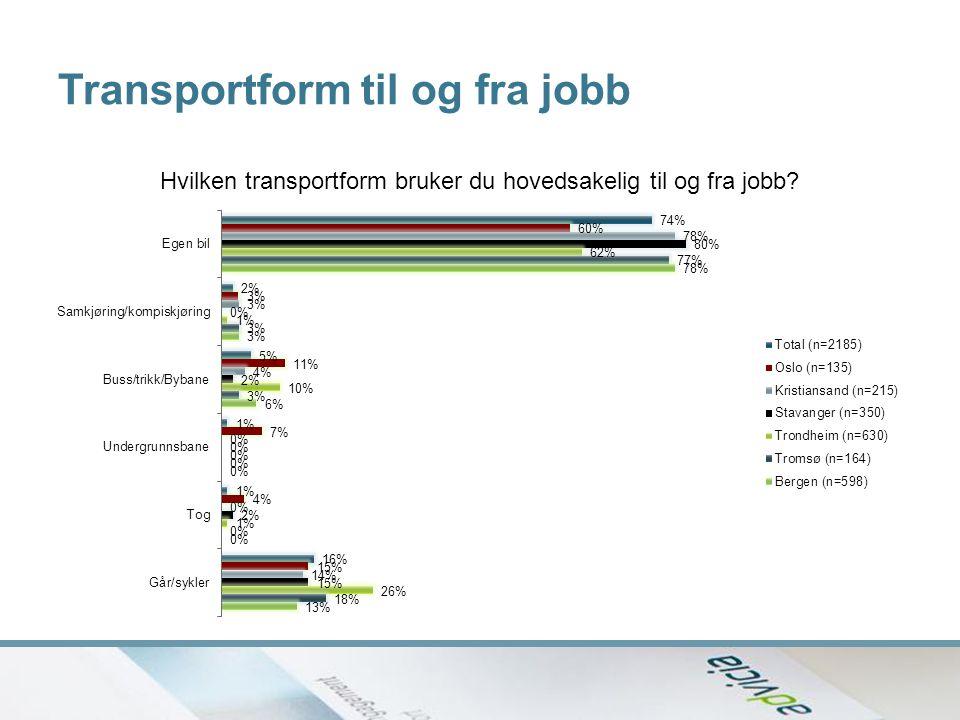 Transportform til og fra jobb