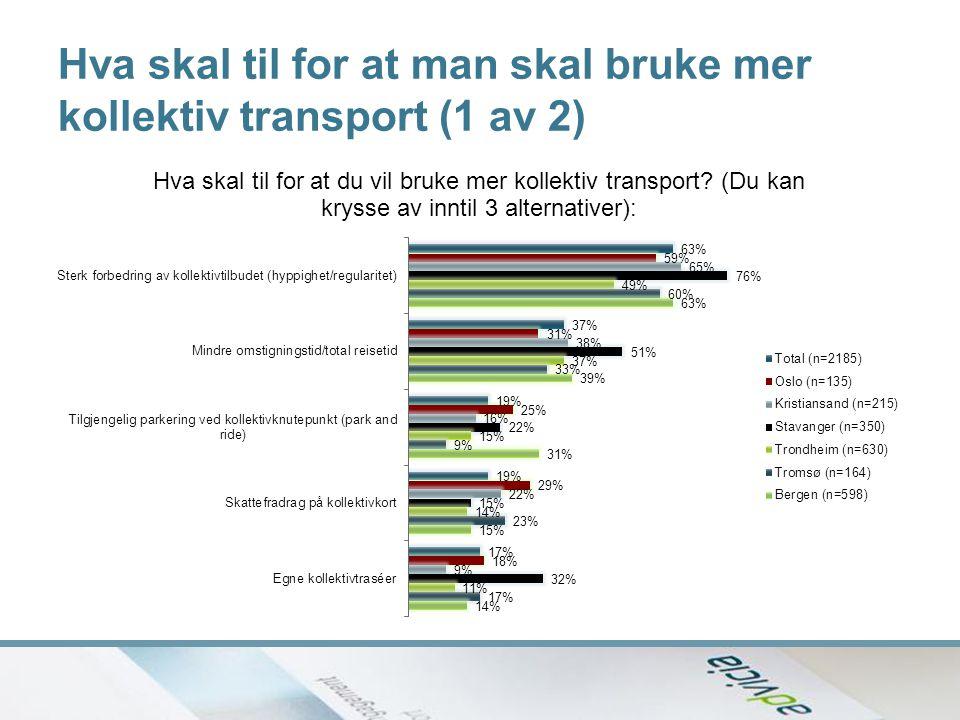 Hva skal til for at man skal bruke mer kollektiv transport (1 av 2)