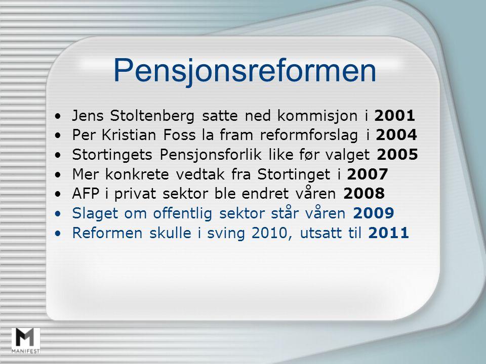 Pensjonsreformen Jens Stoltenberg satte ned kommisjon i 2001 Per Kristian Foss la fram reformforslag i 2004 Stortingets Pensjonsforlik like før valget