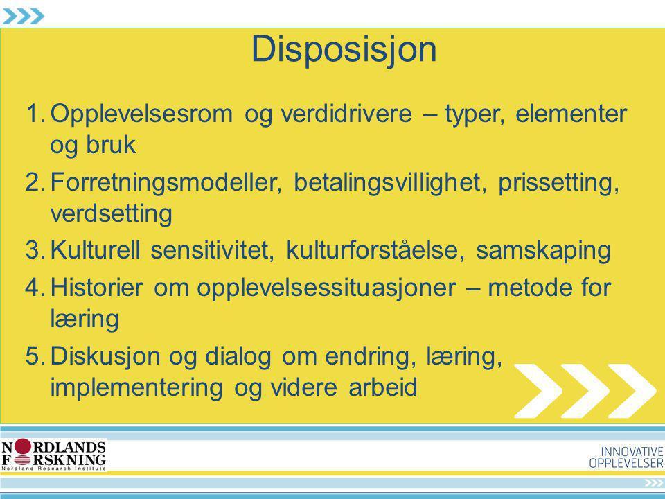 Disposisjon 1.Opplevelsesrom og verdidrivere – typer, elementer og bruk 2.Forretningsmodeller, betalingsvillighet, prissetting, verdsetting 3.Kulturel
