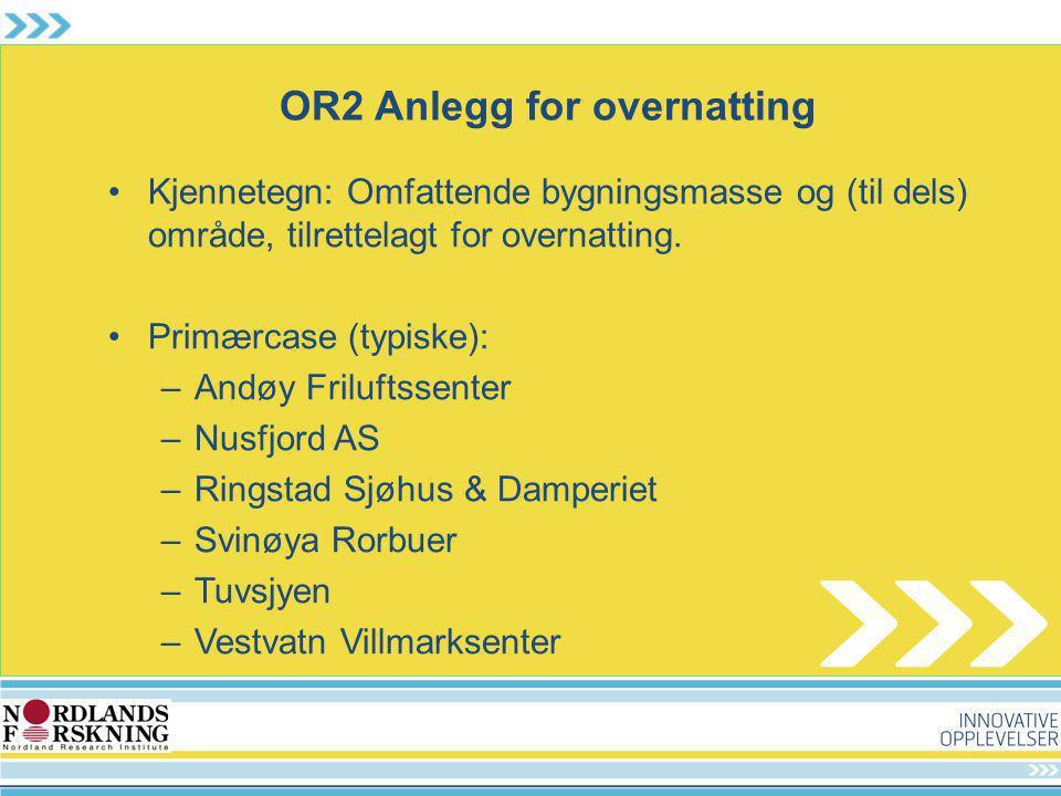 OR2 Anlegg for overnatting Kjennetegn: Omfattende bygningsmasse og (til dels) område, tilrettelagt for overnatting. Primærcase (typiske): –Andøy Frilu