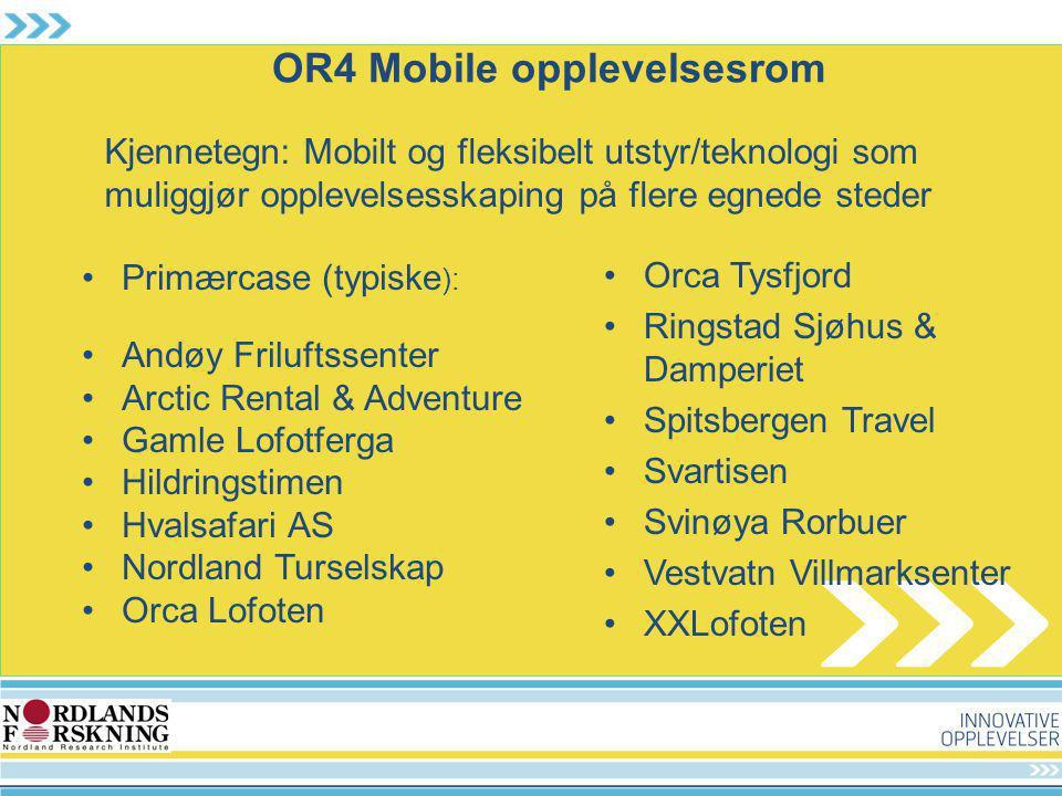 OR4 Mobile opplevelsesrom Primærcase (typiske ): Andøy Friluftssenter Arctic Rental & Adventure Gamle Lofotferga Hildringstimen Hvalsafari AS Nordland