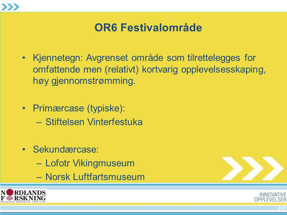 OR6 Festivalområde Kjennetegn: Avgrenset område som tilrettelegges for omfattende men (relativt) kortvarig opplevelsesskaping, høy gjennomstrømming. P