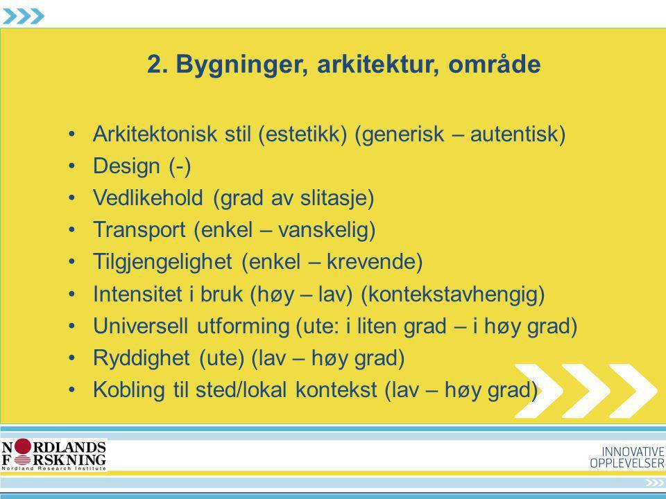 2. Bygninger, arkitektur, område Arkitektonisk stil (estetikk) (generisk – autentisk) Design (-) Vedlikehold (grad av slitasje) Transport (enkel – van