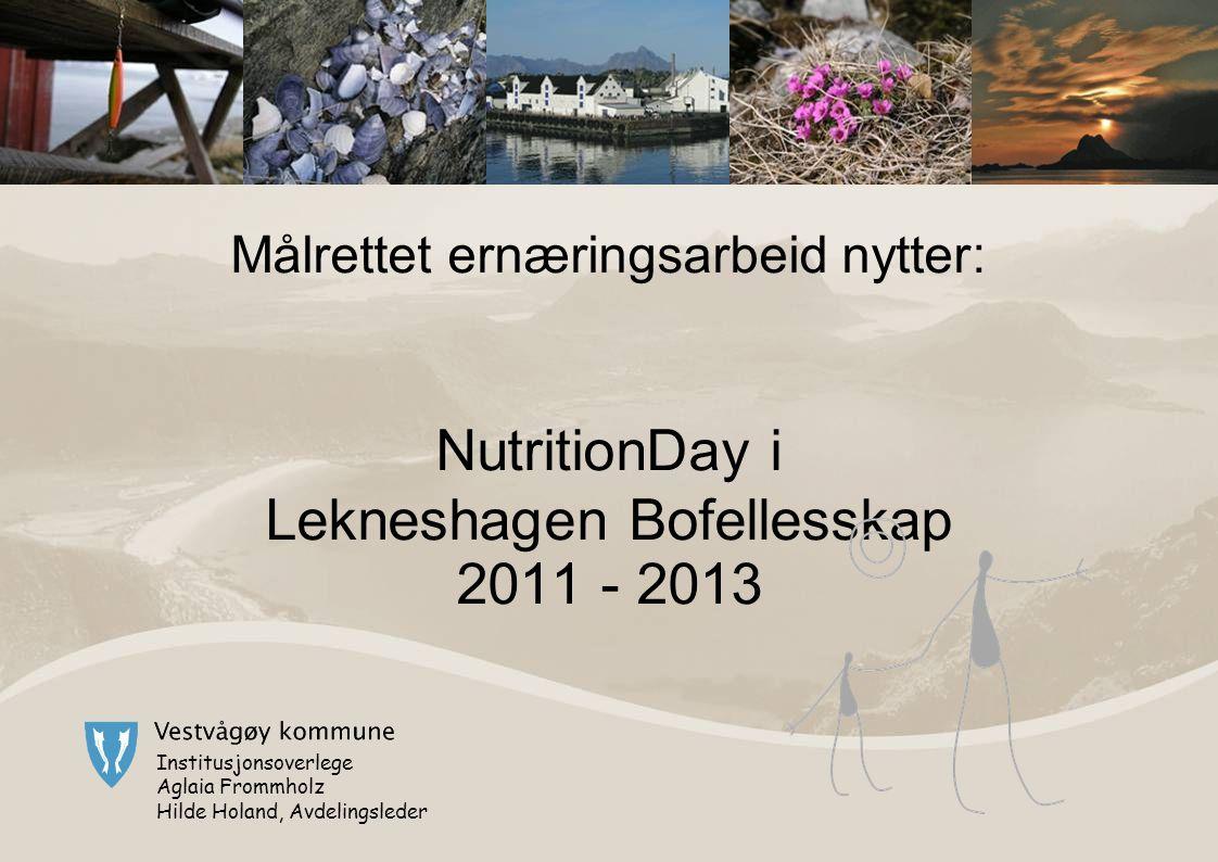 Målrettet ernæringsarbeid nytter : NutritionDay i Lekneshagen Bofellesskap 2011 - 2013 Institusjonsoverlege Aglaia Frommholz Hilde Holand, Avdelingsleder