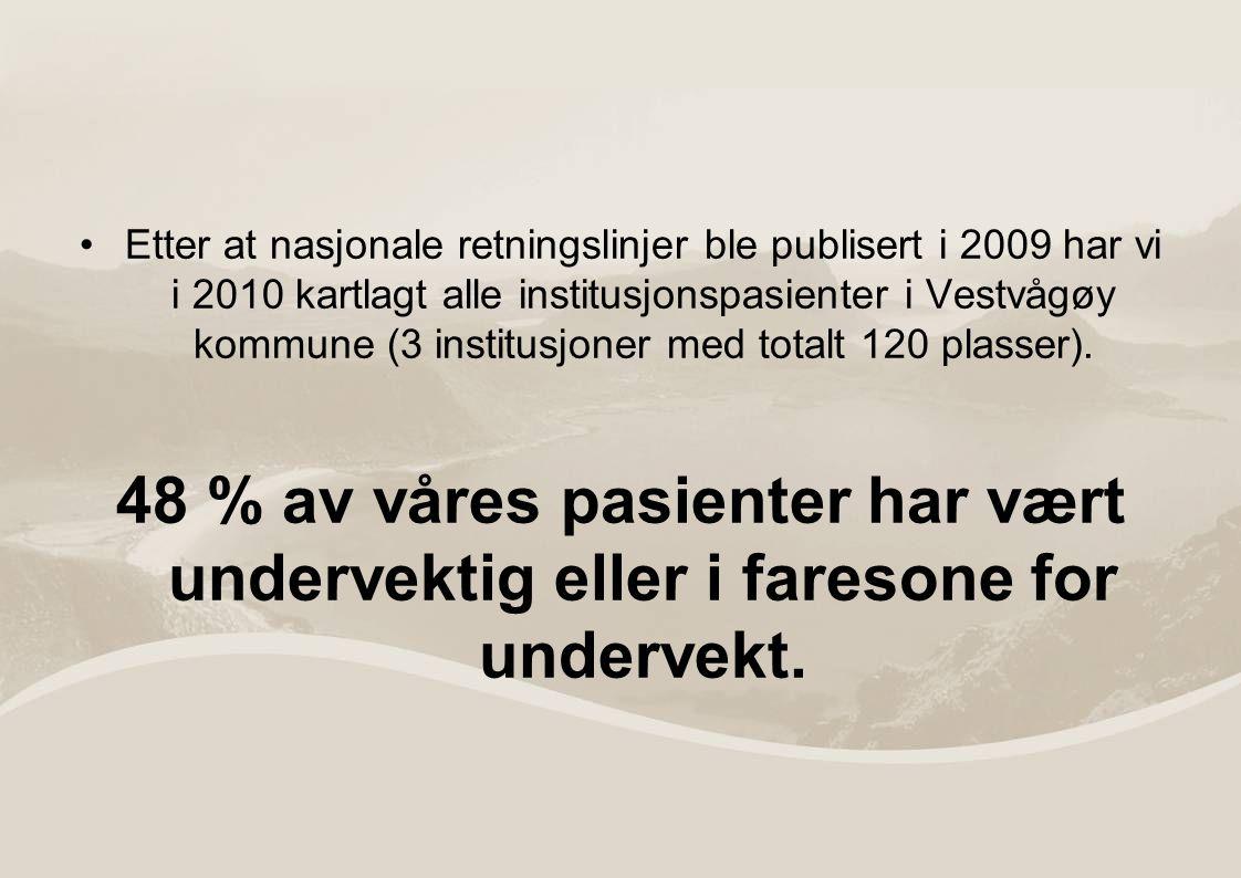 Etter at nasjonale retningslinjer ble publisert i 2009 har vi i 2010 kartlagt alle institusjonspasienter i Vestvågøy kommune (3 institusjoner med totalt 120 plasser).