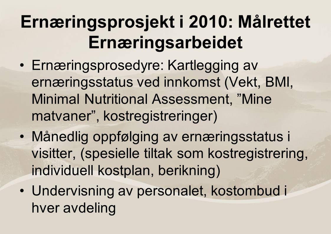 Ernæringsprosjekt i 2010: Målrettet Ernæringsarbeidet Ernæringsprosedyre: Kartlegging av ernæringsstatus ved innkomst (Vekt, BMI, Minimal Nutritional Assessment, Mine matvaner , kostregistreringer) Månedlig oppfølging av ernæringsstatus i visitter, (spesielle tiltak som kostregistrering, individuell kostplan, berikning) Undervisning av personalet, kostombud i hver avdeling