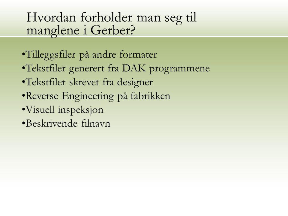 Tilleggsfiler på andre formater Tekstfiler generert fra DAK programmene Tekstfiler skrevet fra designer Reverse Engineering på fabrikken Visuell inspeksjon Beskrivende filnavn Hvordan forholder man seg til manglene i Gerber