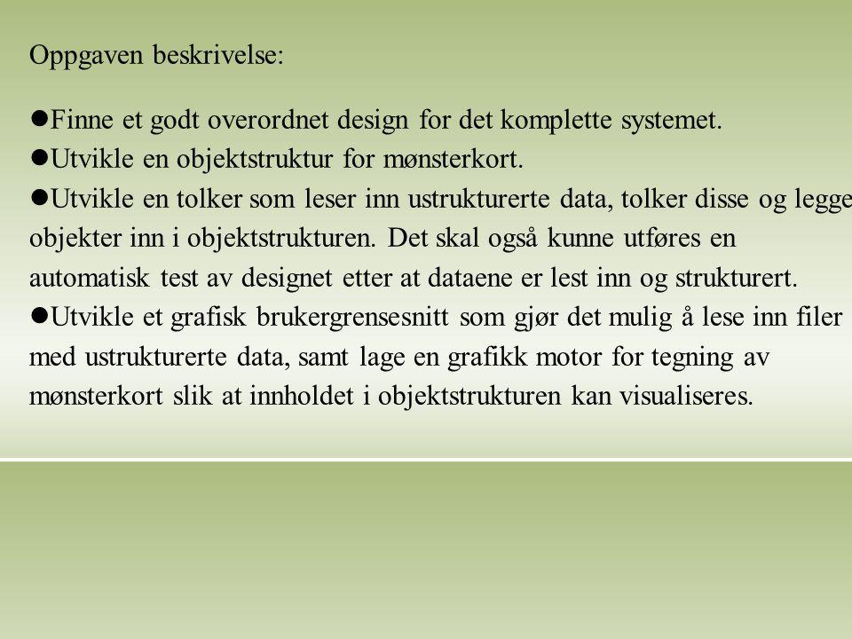 Oppgaven beskrivelse: Finne et godt overordnet design for det komplette systemet.