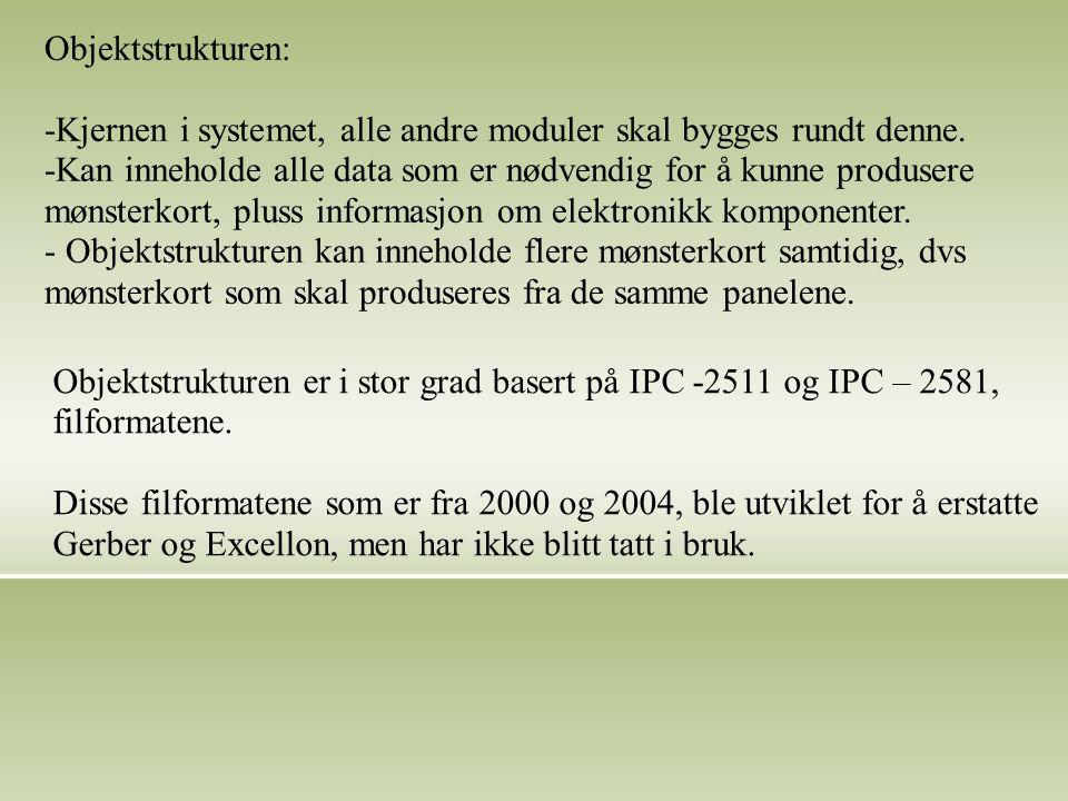 Objektstrukturen: -Kjernen i systemet, alle andre moduler skal bygges rundt denne.