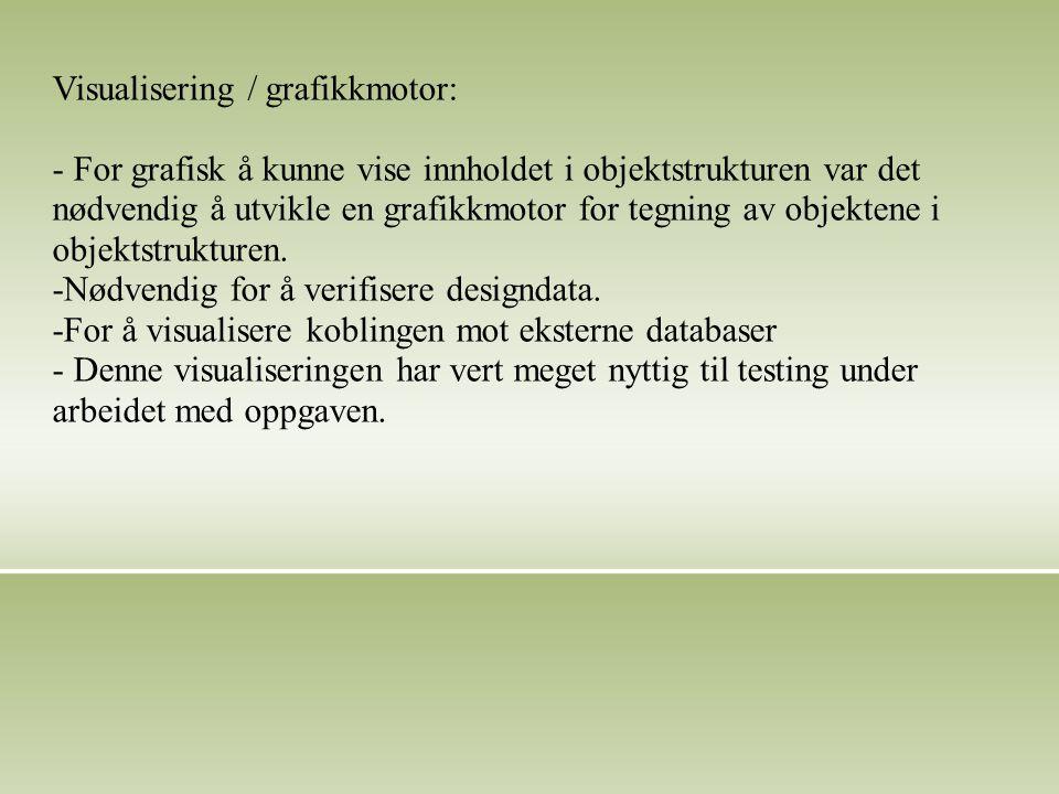 Visualisering / grafikkmotor: - For grafisk å kunne vise innholdet i objektstrukturen var det nødvendig å utvikle en grafikkmotor for tegning av objektene i objektstrukturen.