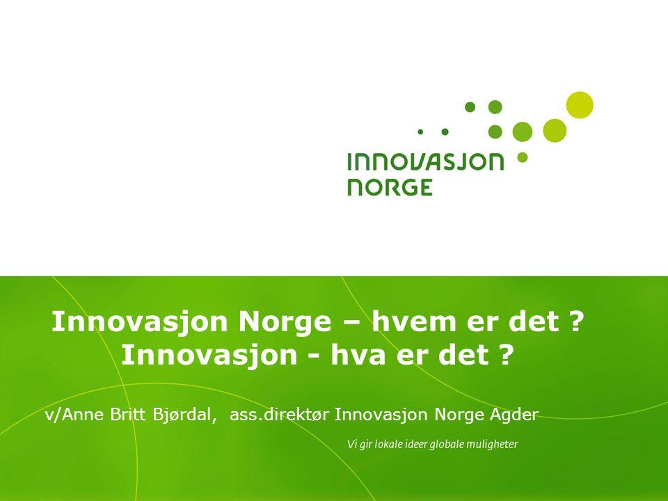 Innovasjon Norge – hvem er det ? Innovasjon - hva er det ? v/Anne Britt Bjørdal, ass.direktør Innovasjon Norge Agder