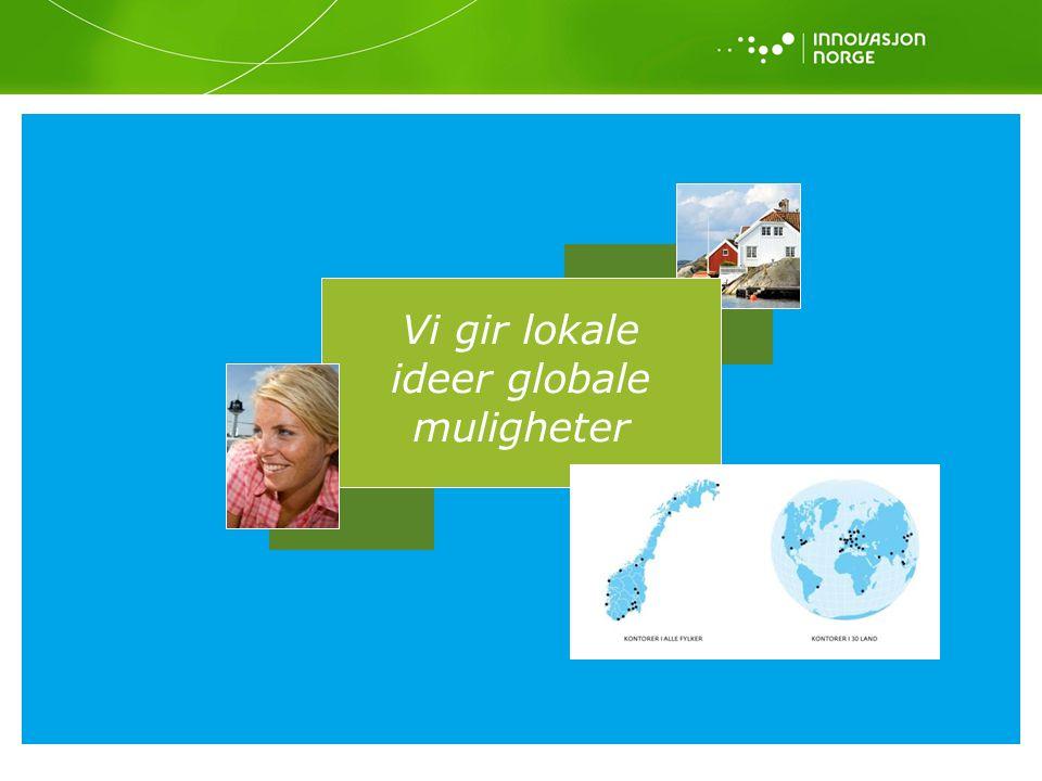 Formål: Innovasjon Norges formål er å være statens og fylkeskommunenes virkemiddel for å realisere verdiskapende næringsutvikling i hele landet Hovedmål: Innovasjon Norge skal utløse bedrifts- og samfunnsøkonomisk lønnsom næringsutvikling, og utløse regionenes næringsmessige muligheter Delmål 1: Flere gode gründere Delmål 2: Flere vekstkraftige bedrifter Delmål 3: Flere innovative næringsmiljøer Visjon: Vi gir lokale ideer globale muligheter