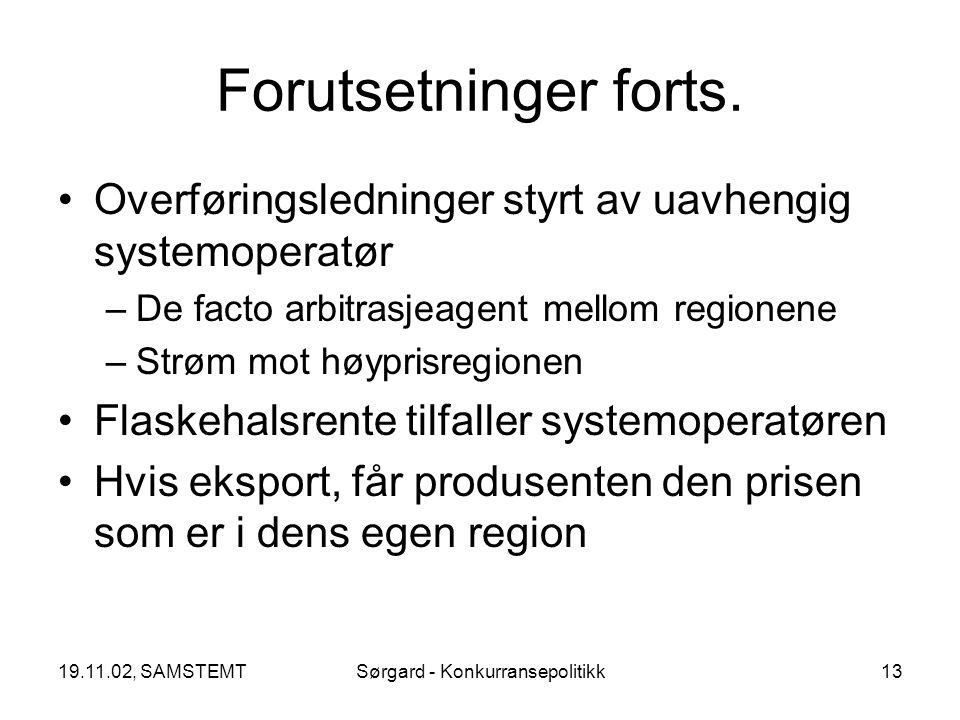 19.11.02, SAMSTEMTSørgard - Konkurransepolitikk13 Forutsetninger forts.