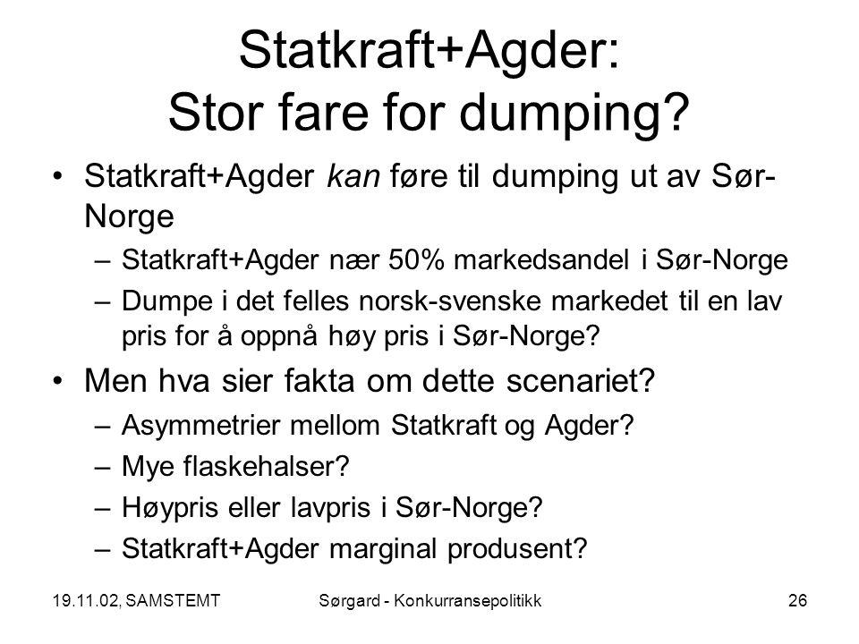 19.11.02, SAMSTEMTSørgard - Konkurransepolitikk26 Statkraft+Agder: Stor fare for dumping.