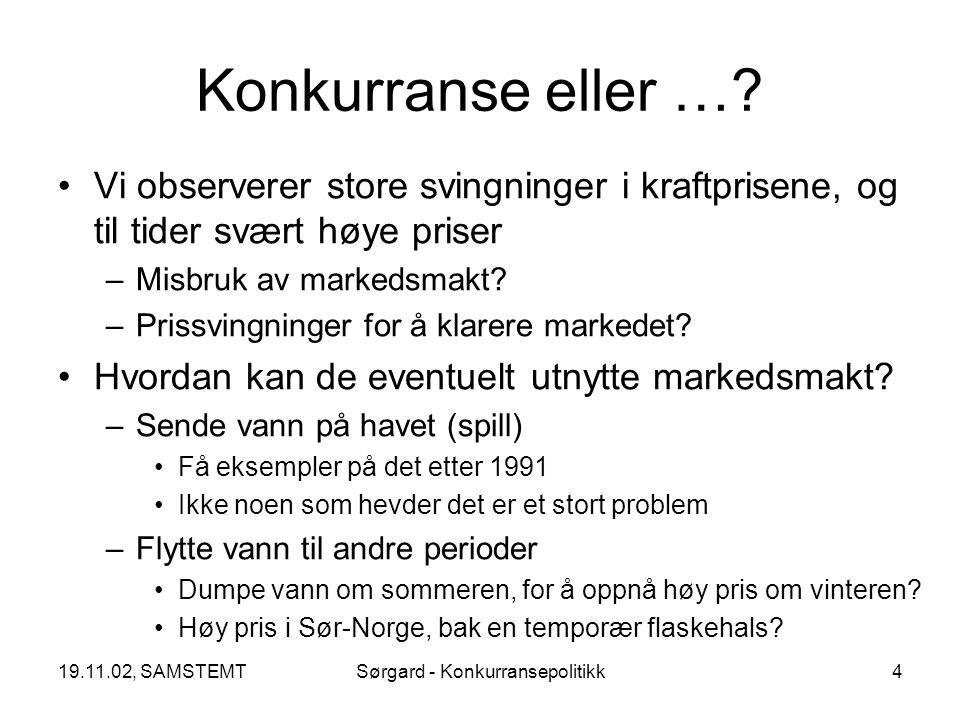 19.11.02, SAMSTEMTSørgard - Konkurransepolitikk5 Stor eksport om sommeren Høye priser om vinteren