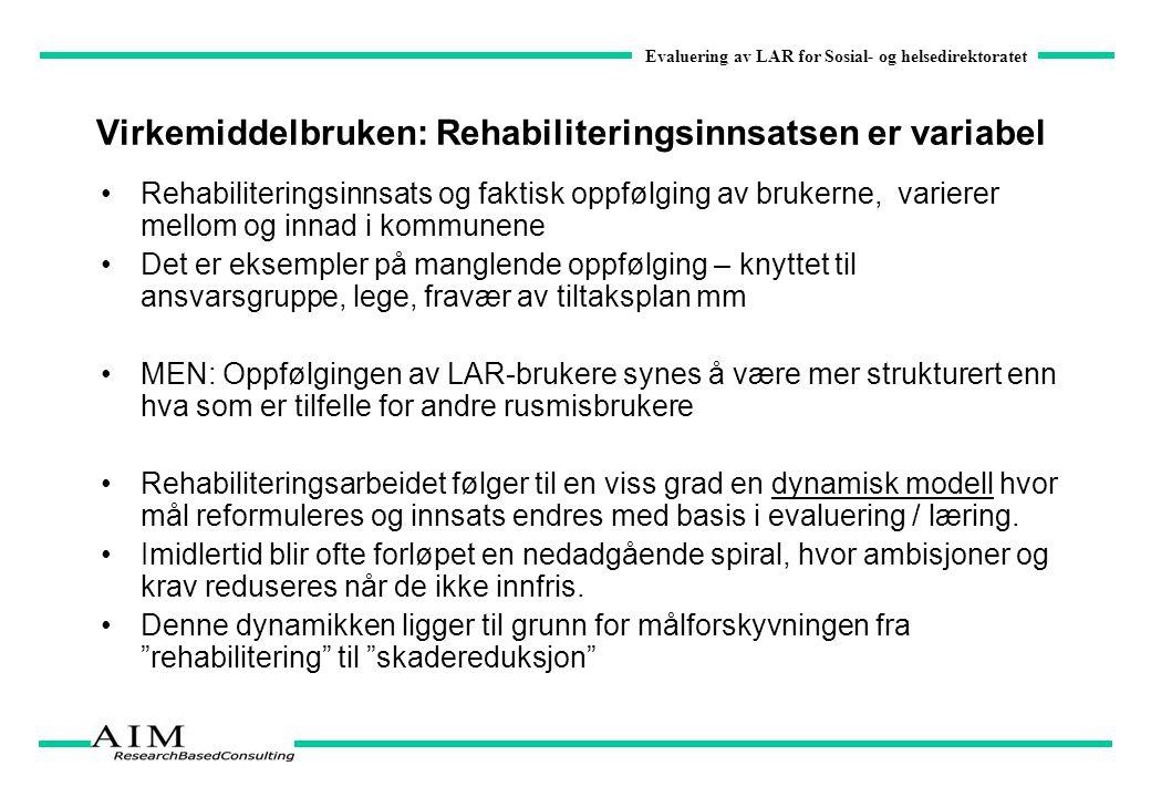 Evaluering av LAR for Sosial- og helsedirektoratet Virkemiddelbruken: Rehabiliteringsinnsatsen er variabel Rehabiliteringsinnsats og faktisk oppfølgin