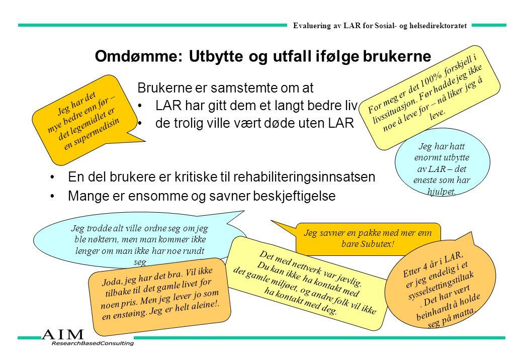 Evaluering av LAR for Sosial- og helsedirektoratet Omdømme: Utbytte og utfall ifølge brukerne Brukerne er samstemte om at LAR har gitt dem et langt be