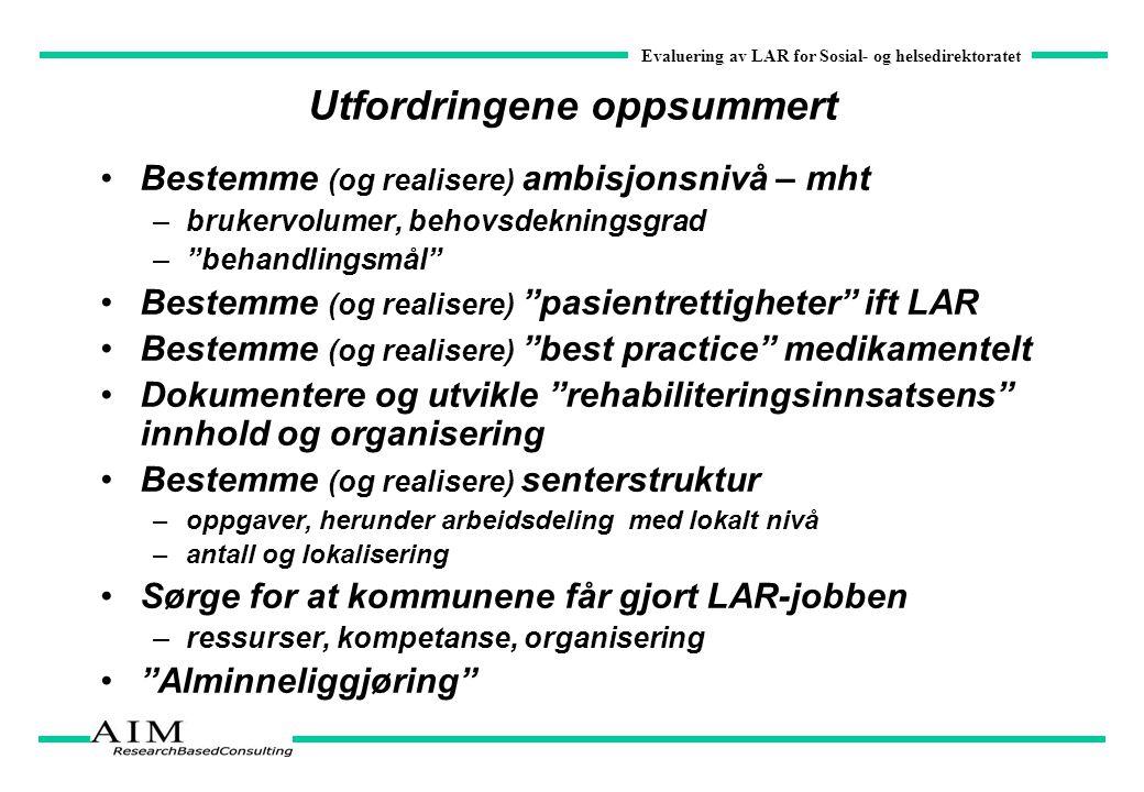 Evaluering av LAR for Sosial- og helsedirektoratet Utfordringene oppsummert Bestemme (og realisere) ambisjonsnivå – mht –brukervolumer, behovsdeknings