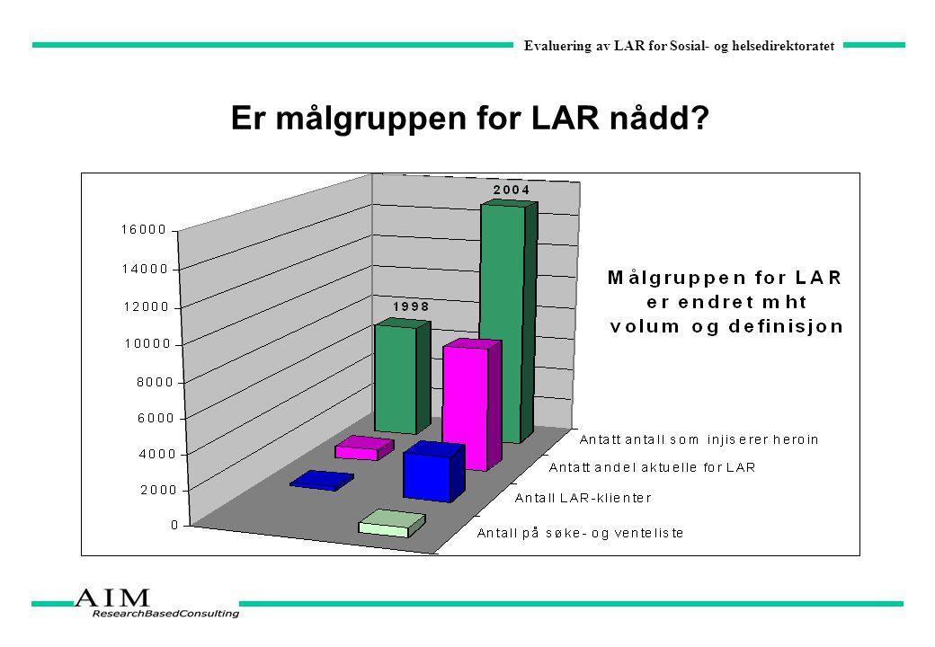 Evaluering av LAR for Sosial- og helsedirektoratet Er målgruppen for LAR nådd?