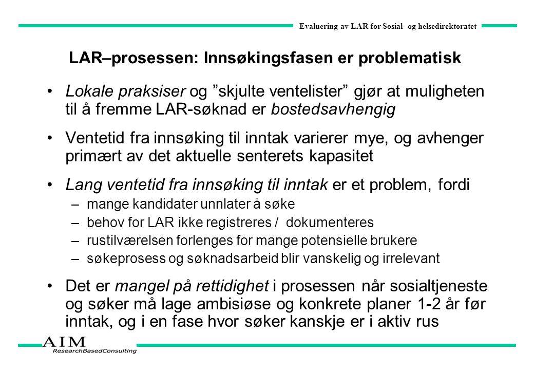 """Evaluering av LAR for Sosial- og helsedirektoratet LAR–prosessen: Innsøkingsfasen er problematisk Lokale praksiser og """"skjulte ventelister"""" gjør at mu"""