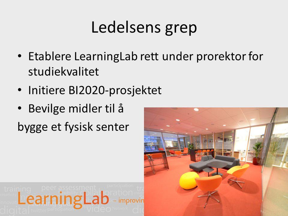 Ledelsens grep Etablere LearningLab rett under prorektor for studiekvalitet Initiere BI2020-prosjektet Bevilge midler til å bygge et fysisk senter