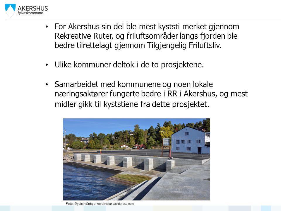 For Akershus sin del ble mest kyststi merket gjennom Rekreative Ruter, og friluftsområder langs fjorden ble bedre tilrettelagt gjennom Tilgjengelig Friluftsliv.