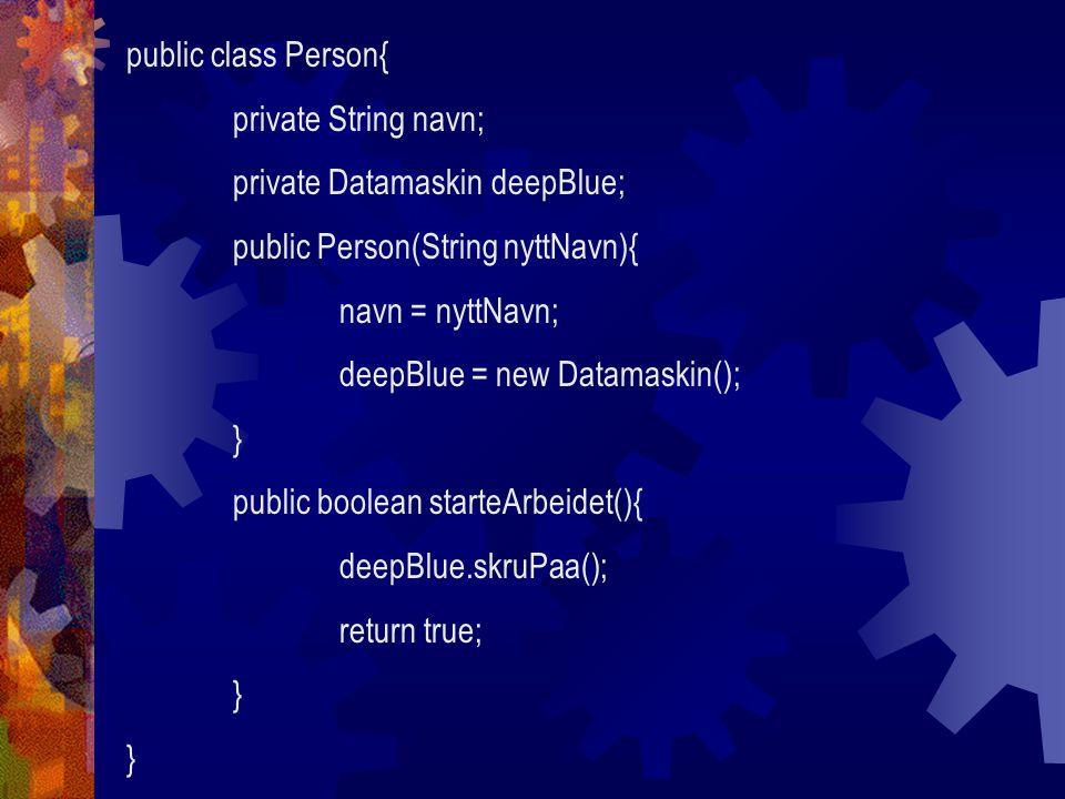 public class Eksamen{ private double internKarakter; private double eksternKarakter; public double hentKarakter(){ double karakter = (internKarakter+eksternKarakter)/2; } public void settInternKarakter(float nyKarakter){ internKarakter = nyKarakter; } public void settEksternKarakter(float nyKarakter){ eksternKarakter = nyKarakter; } Det er ikke alltid du vil at alle skal vite alt!