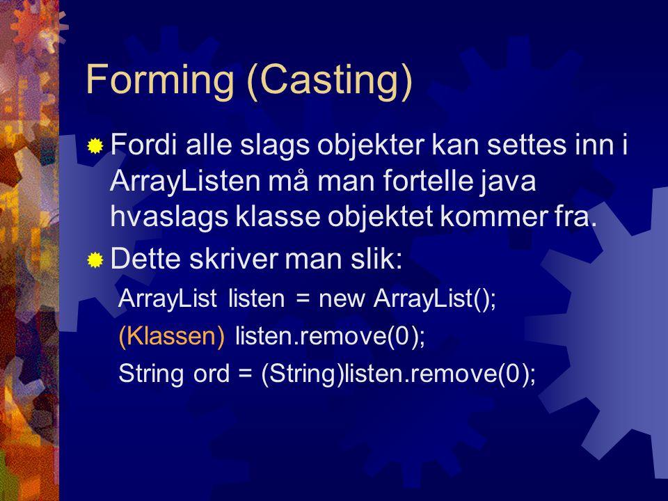 import java.util.ArrayList; public class Bokhylle{ private ArrayList boker; public Bokhylle(int antallBoker){ boker = new ArrayList(); for(int i =0;i<antallBoker;i++){ boker.add(new Bok( Bok +i)); } public Bok taUtBok(){ Bok bokSomTaesUt = (Bok)boker.remove(0); return bokSomTaesUt; }