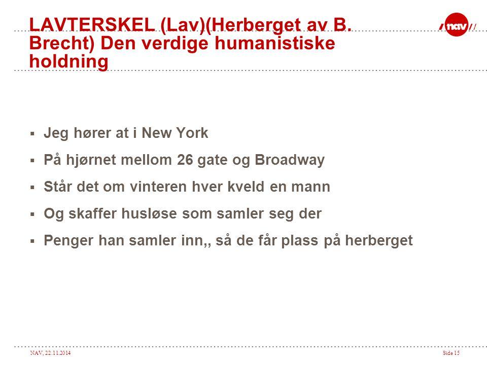 NAV, 22.11.2014Side 15 LAVTERSKEL (Lav)(Herberget av B. Brecht) Den verdige humanistiske holdning  Jeg hører at i New York  På hjørnet mellom 26 gat
